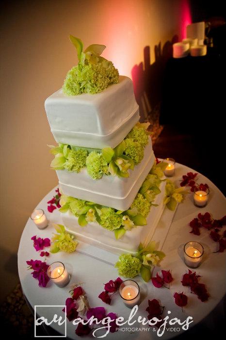 green & purple cake flowers