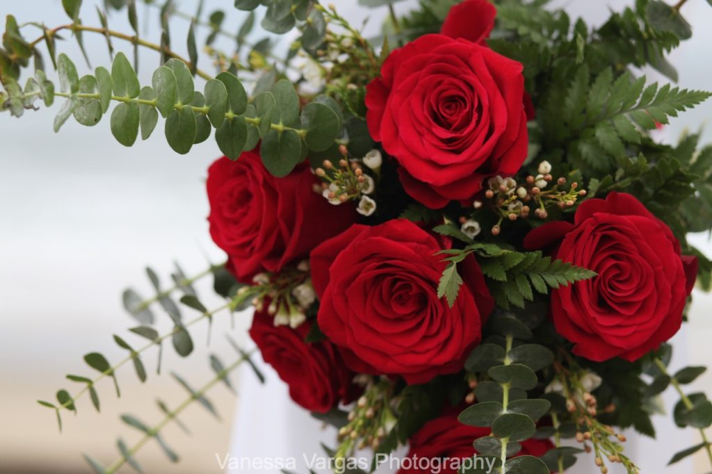 red rose weucaliptus wedding flowers