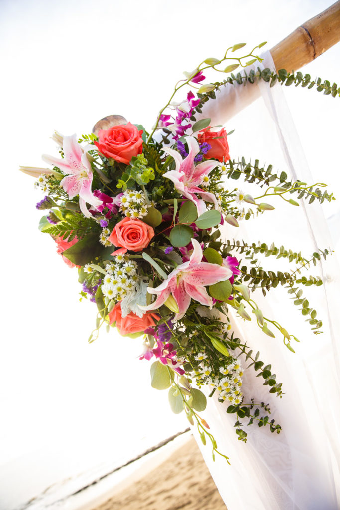top corner wedding ceremony arch decor