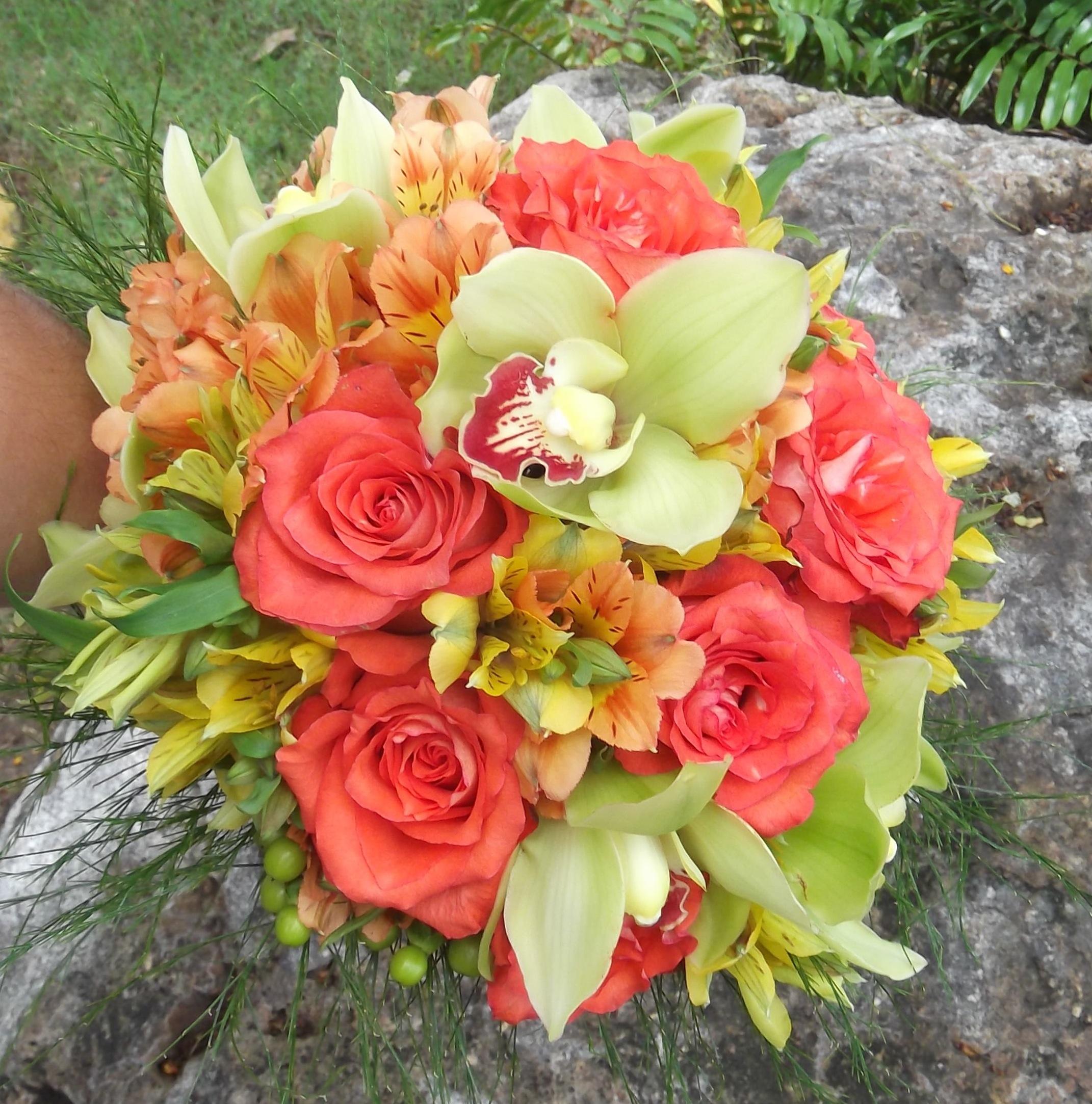 green & orange tropical wedding bridal bouquet