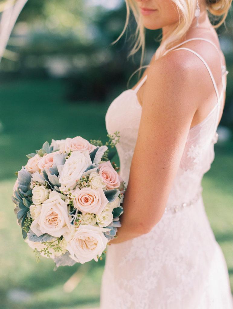 Delicate pastel bouquet w/dusty miller leaves